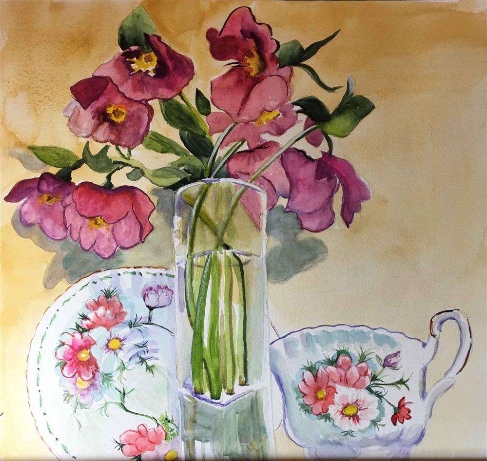 """""""Flowers and tea cup still life"""" original fine art by Bunny Griffeth"""