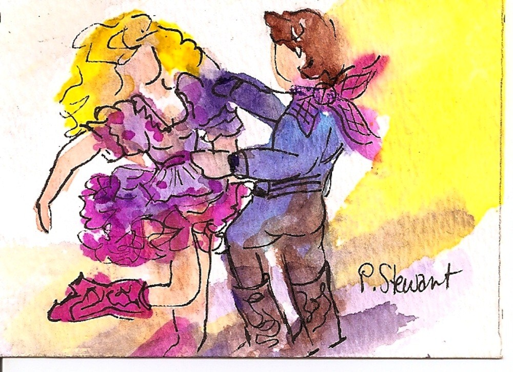 """ACEO Do-Si-Do Country Western Dance Couple"" original fine art by Penny Lee StewArt"
