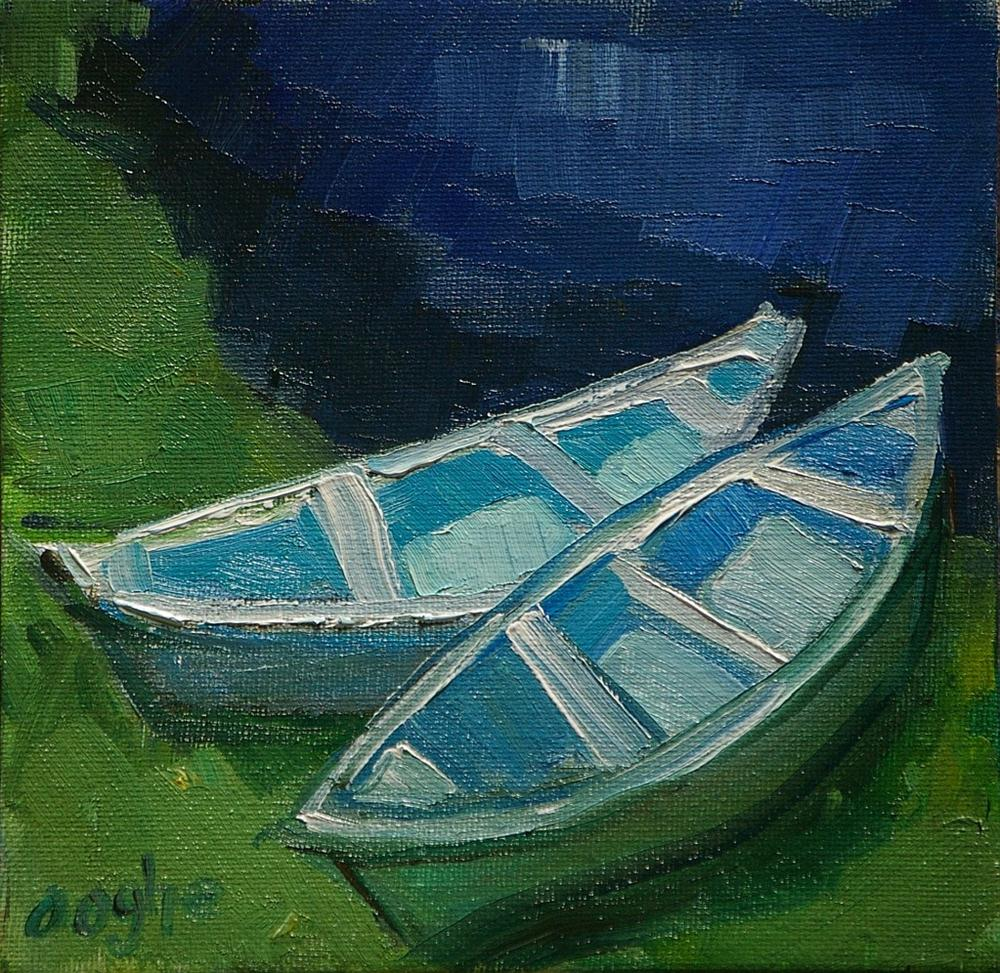 """""""Boats on the Grass"""" original fine art by Angela Ooghe"""