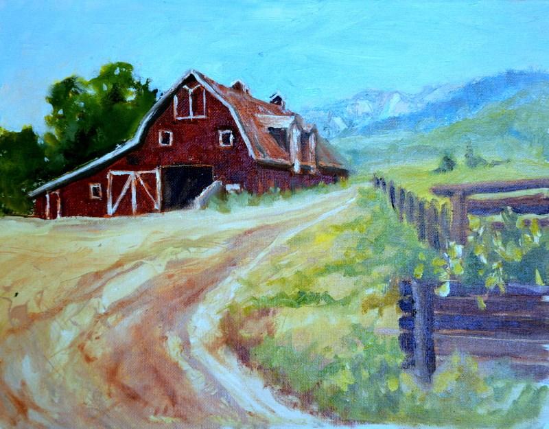 """The barn on the flying H ranch Big Horn Wyo"" original fine art by Dorothy Redland"