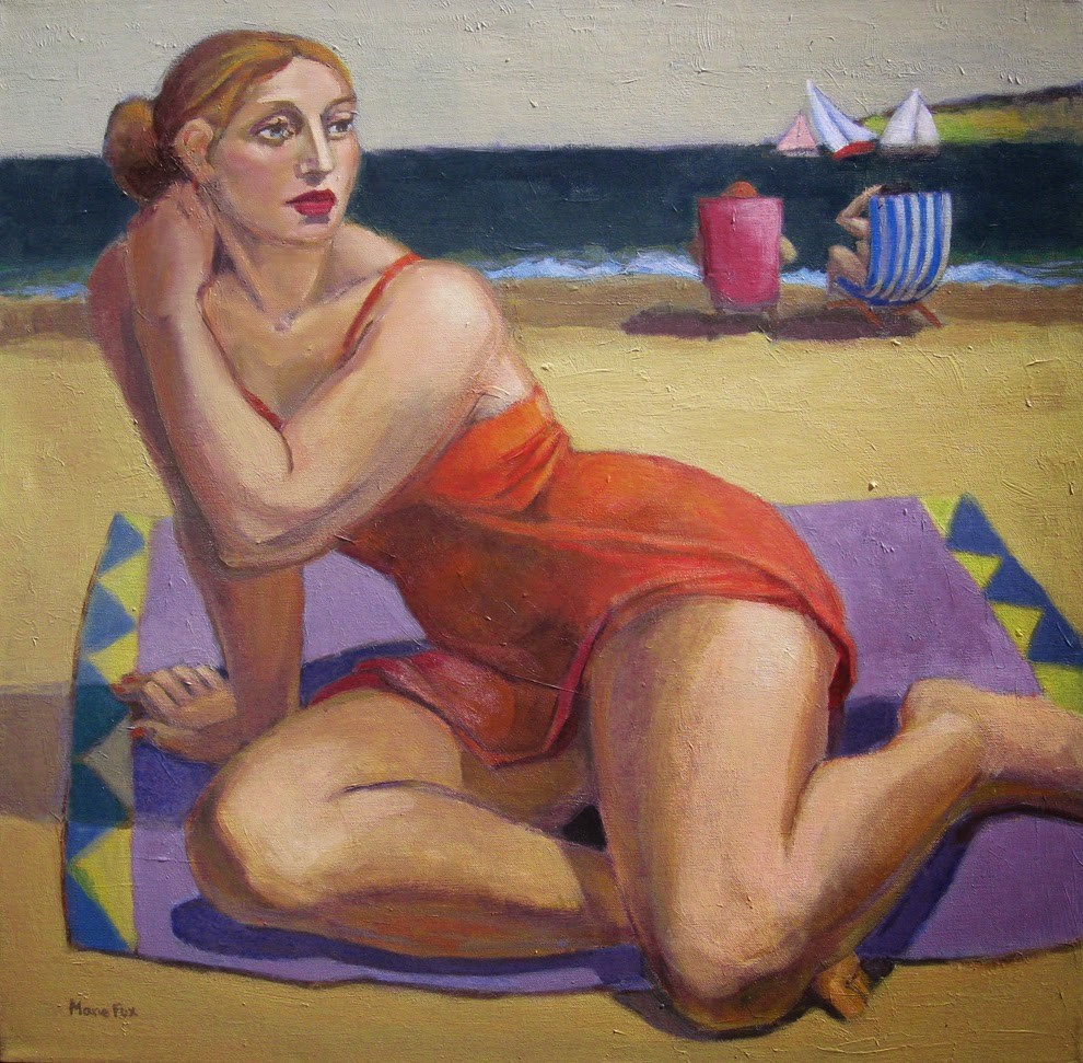 """""""There's My Chance, figurative female at beach, ocean, female figuration, sailboats, contemporary fig"""" original fine art by Marie Fox"""
