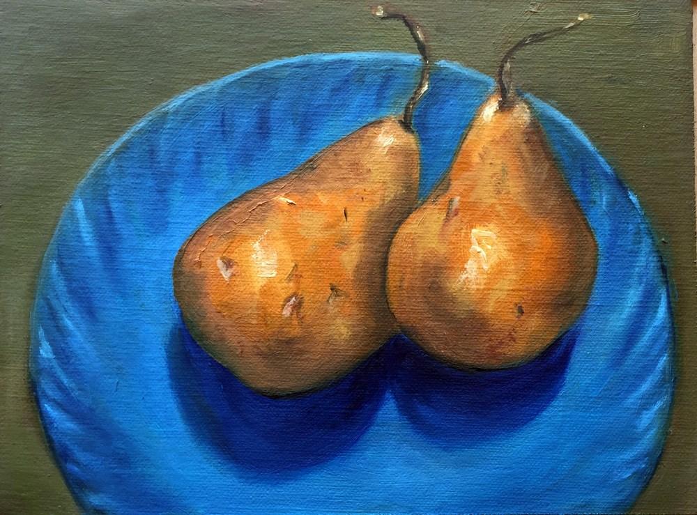 """""""Pair of Pears"""" original fine art by Dicksie McDaniel"""