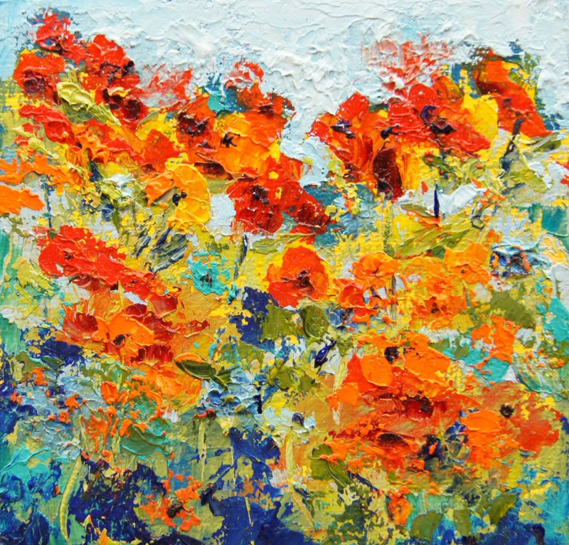 """""""Poppy Impressions, Miniature treasure palette knife painting, 4x4"""" original fine art by Marion Hedger"""