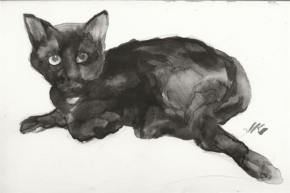 """Daily Cat 132"" original fine art by Jean Krueger"