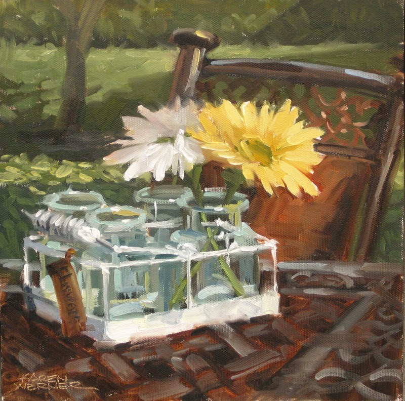 """Patio Daisies"" original fine art by Karen Werner"