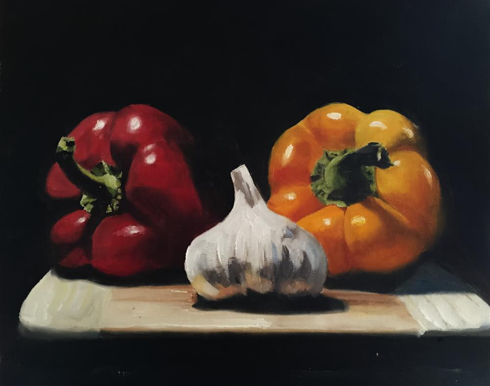 """""""Peppers and Garlic"""" original fine art by James Coates"""