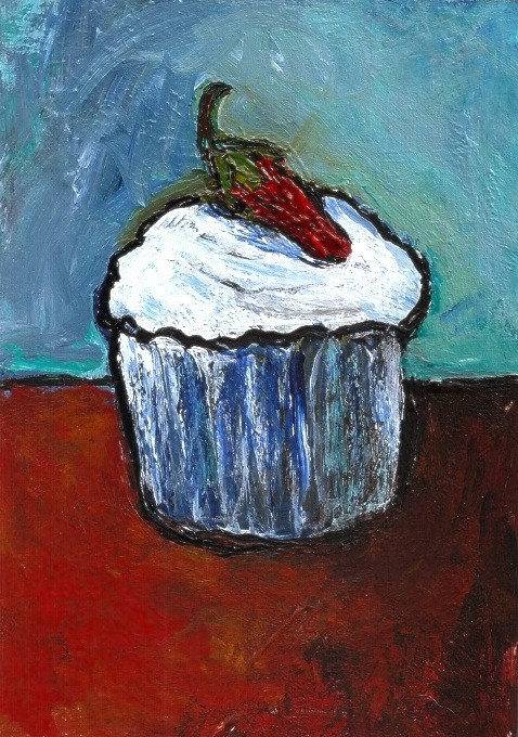 """""""ACEO Chili Pepper Frosted Cupcake Expressionistic Acrylic Penny Lee StewArt"""" original fine art by Penny Lee StewArt"""