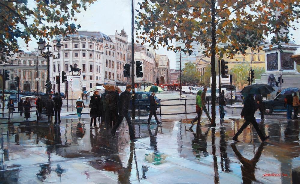 """Rain, Rain, Rain, London Streets"" original fine art by Adebanji Alade"
