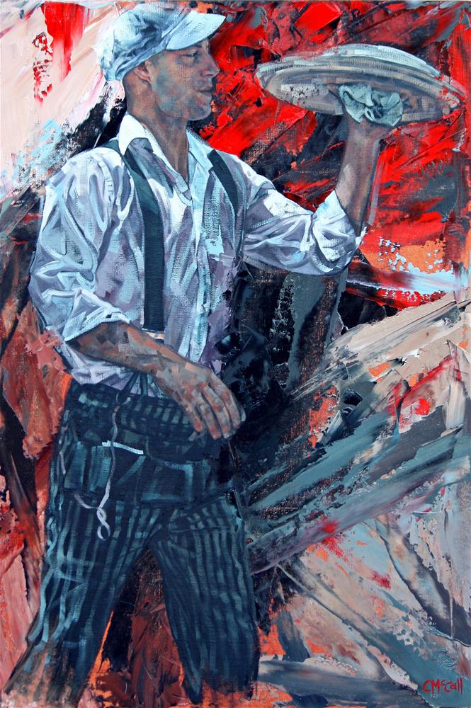 """""""French Waiter"""" original fine art by Claire McCall"""