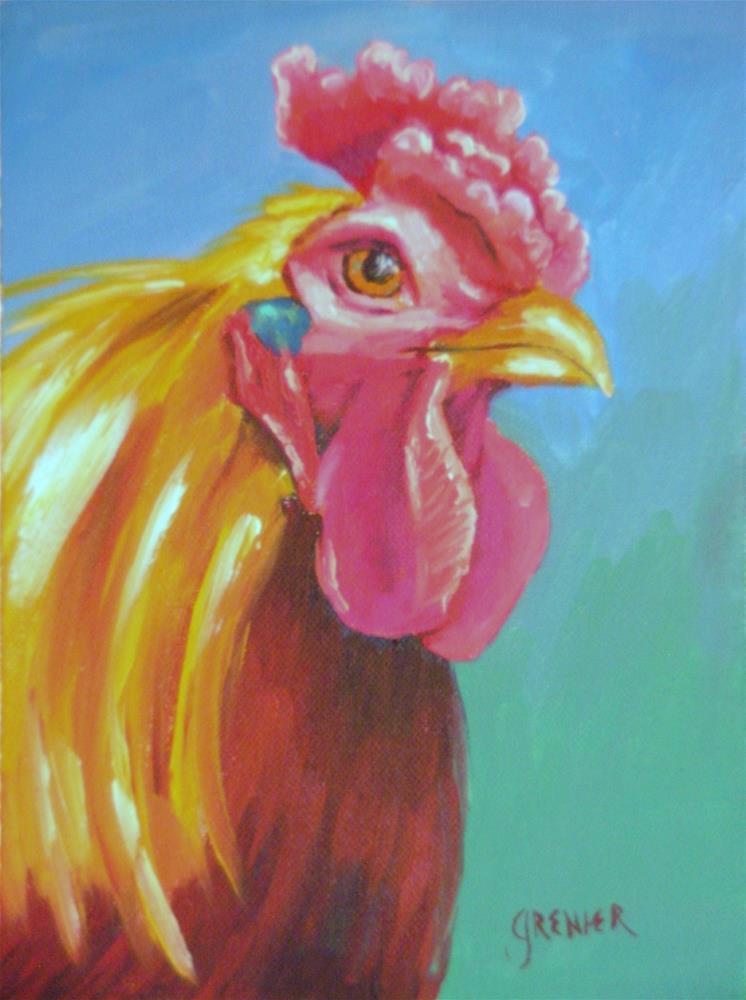 """Original Oil Painting Wyandotte Rooster The Donald Chicken 6X8 Farm Animal"" original fine art by jean grenier"