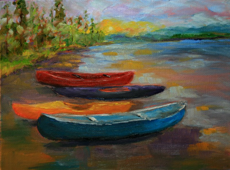 """Canoes and Kayaks"" original fine art by Jean Nelson"