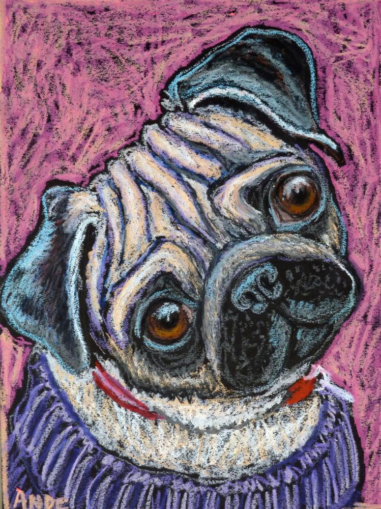 """Pug on Pink"" original fine art by Ande Hall"
