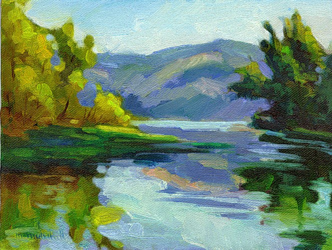 """Sunrise at Clear Lake"" original fine art by Mary Mulvihill"