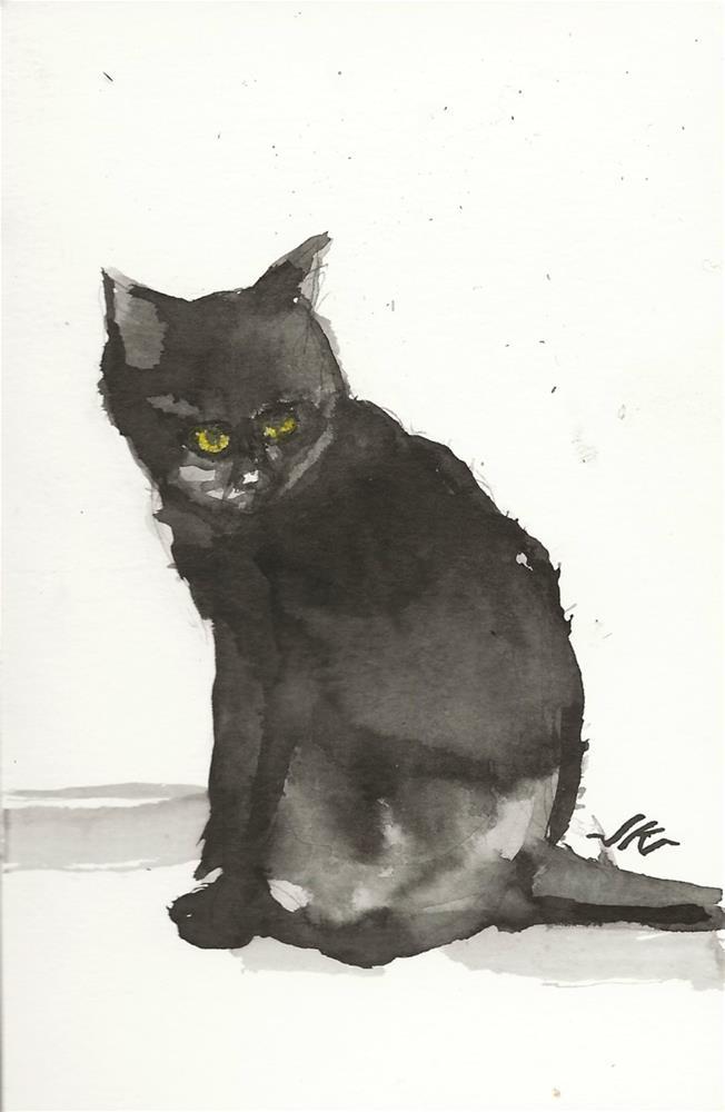 """Daily Cat 84"" original fine art by Jean Krueger"