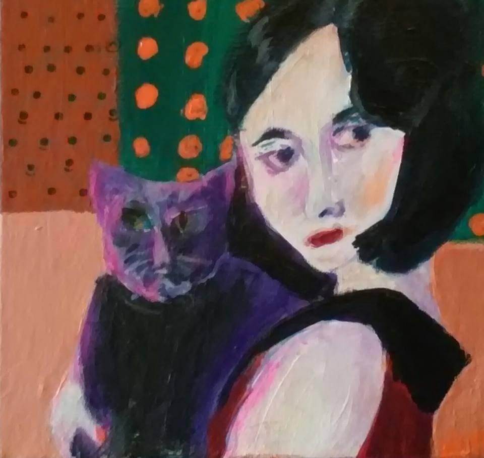 """Dolores and Cat"" original fine art by Hallie Dozier"