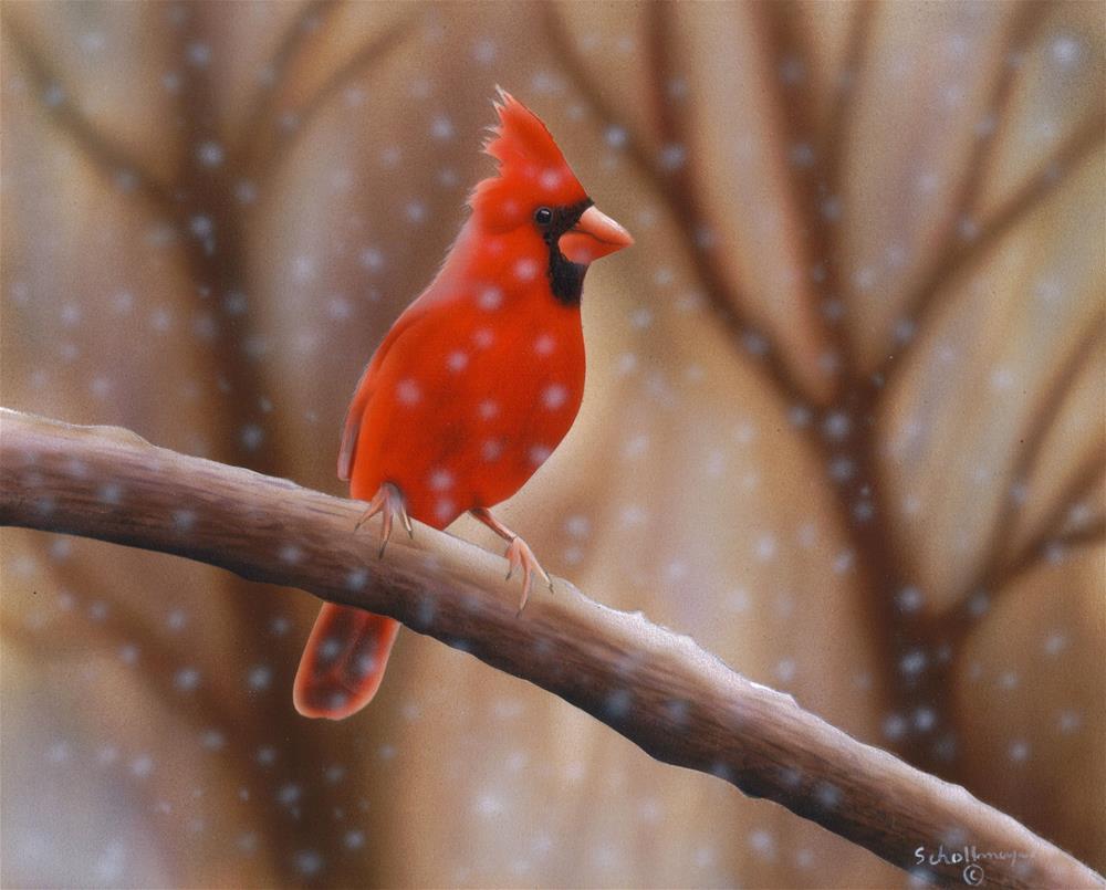 """Mid-Winter Perch"" original fine art by Fred Schollmeyer"