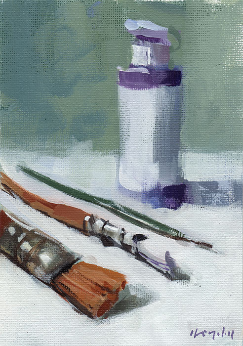 """""""Challenge - Paint What You Paint With - My Brushes"""" original fine art by David Lloyd"""