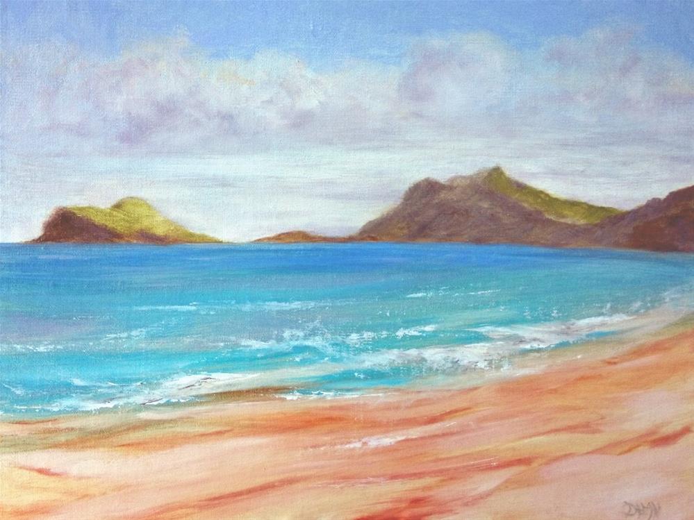"""Bellows Oahu Looking South To Rabbit Island"" original fine art by Dalan Wells"