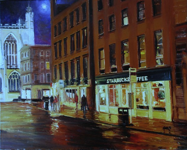 """All Bar One & Starbucks Moonlight Effect"" original fine art by Adebanji Alade"