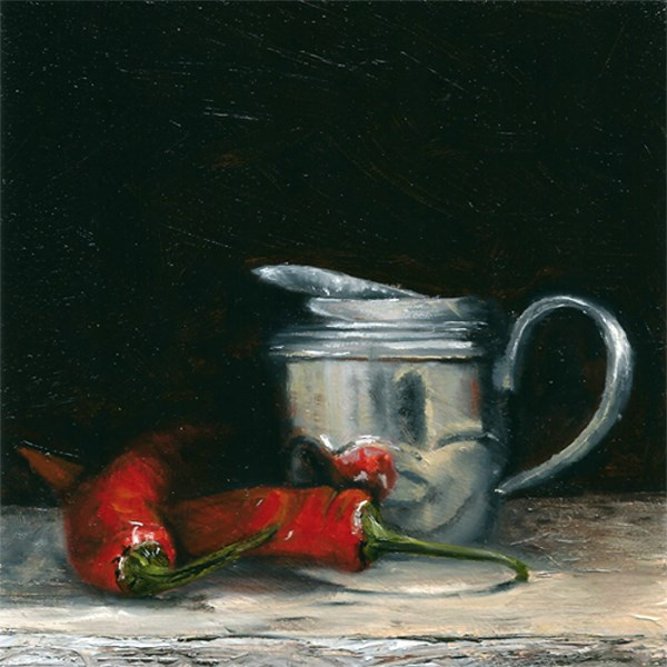 """""""Pewter jug with chillies"""" original fine art by Peter J Sandford"""
