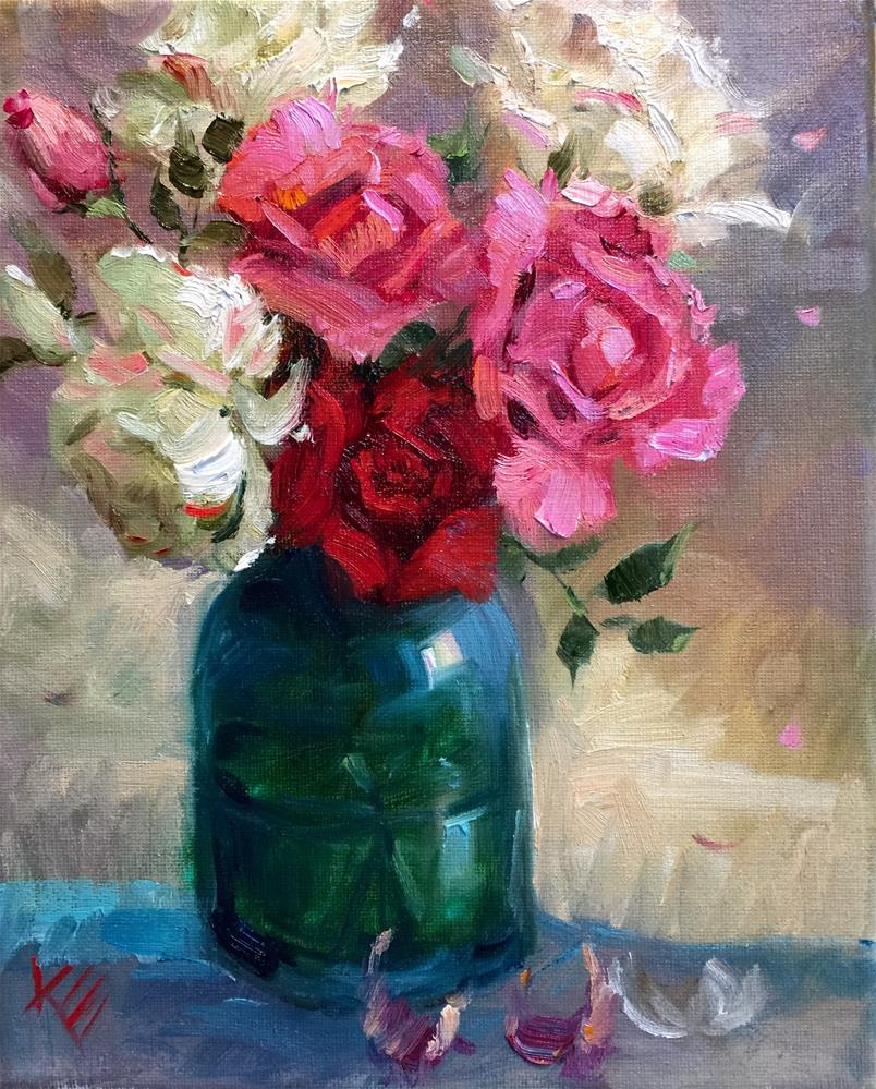 """""""Summer Roses in Turquoise"""" original fine art by Krista Eaton"""
