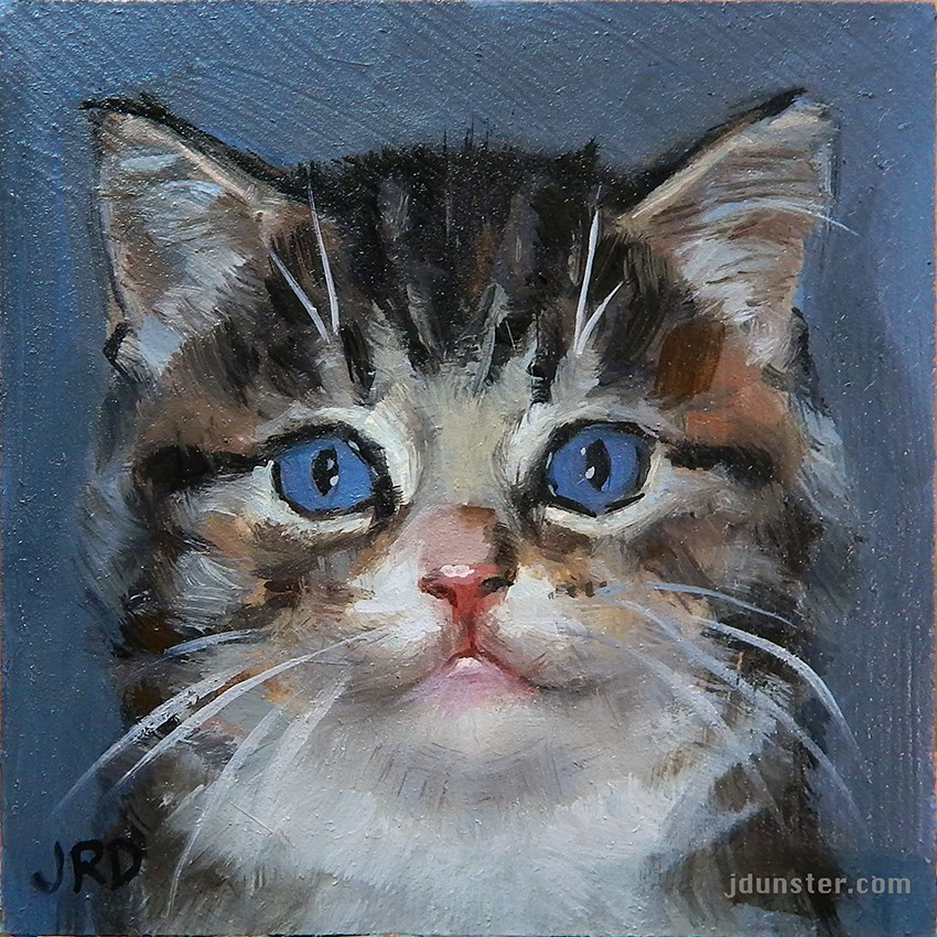 """Fluffy Kitten Head"" original fine art by J. Dunster"