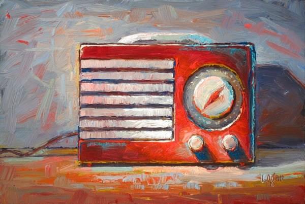 """Little Red Radio (Emerson)"" original fine art by Raymond Logan"