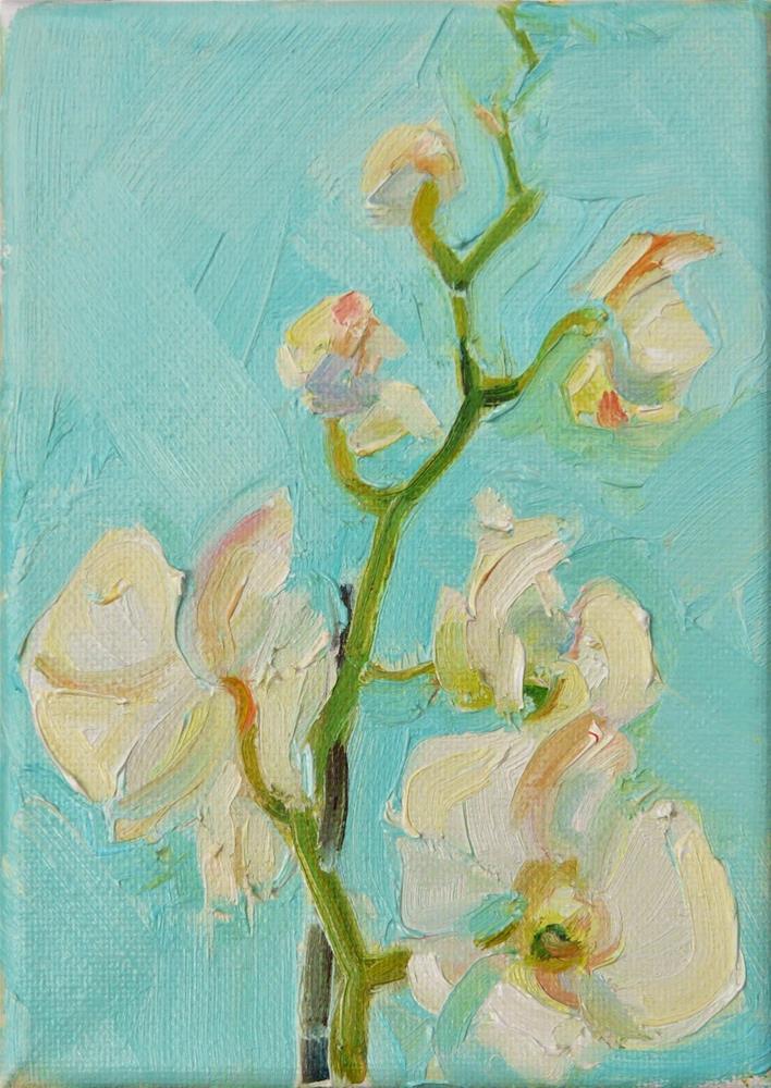 """Orchids in Window,still life, oil on canvas,7x5,price$175"" original fine art by Joy Olney"