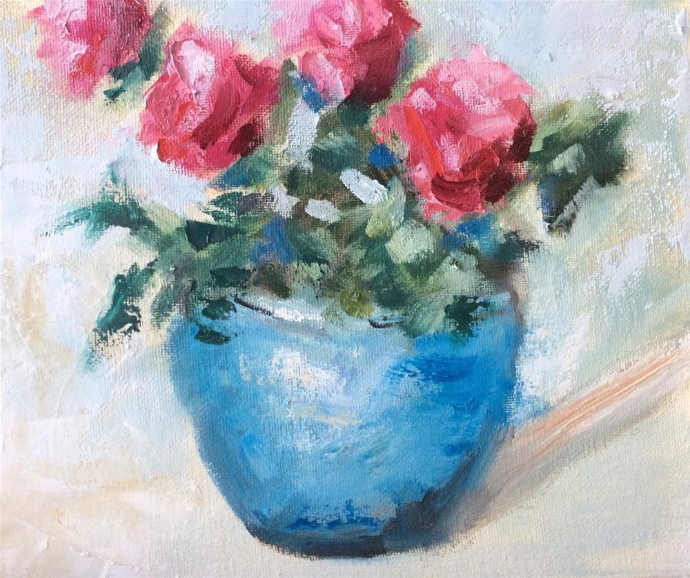 """Blue Pot"" original fine art by Gayle Lambeth"