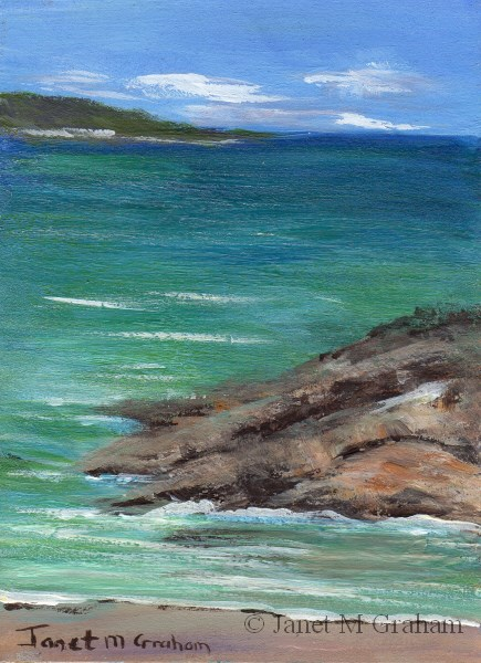 """Seascape 4 ACEO"" original fine art by Janet Graham"