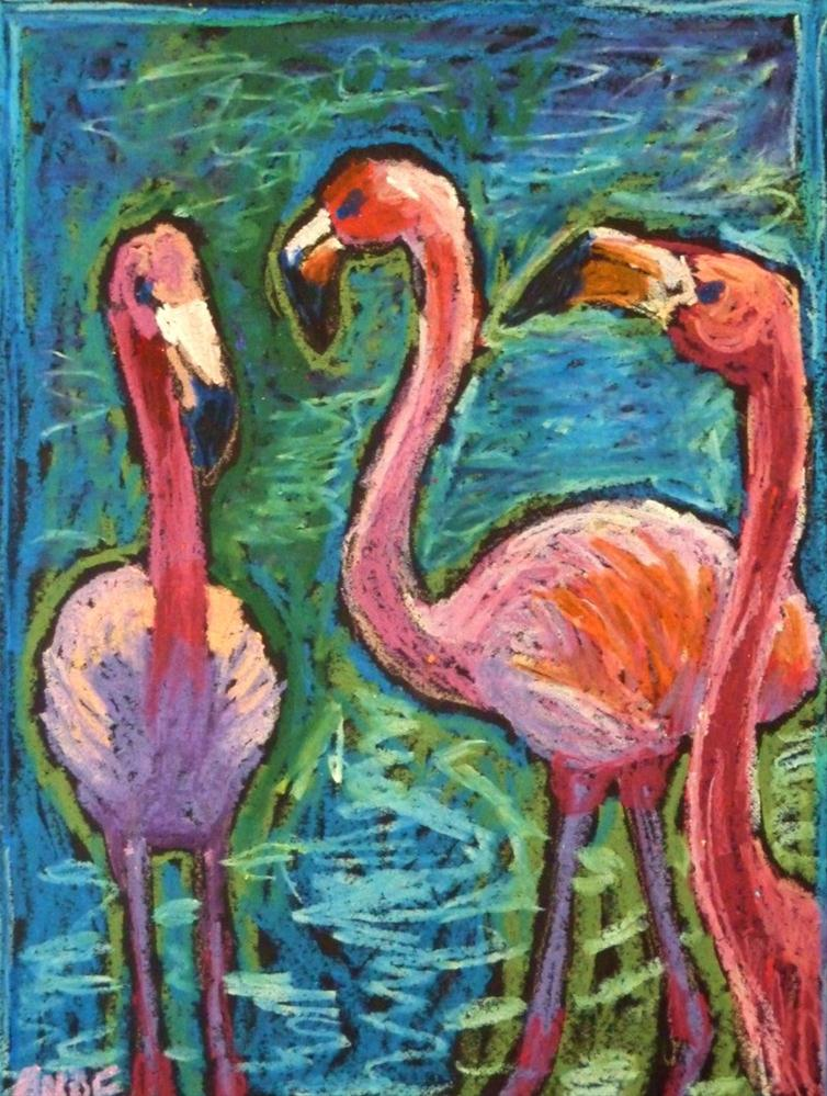 """Three Flamingoes"" original fine art by Ande Hall"