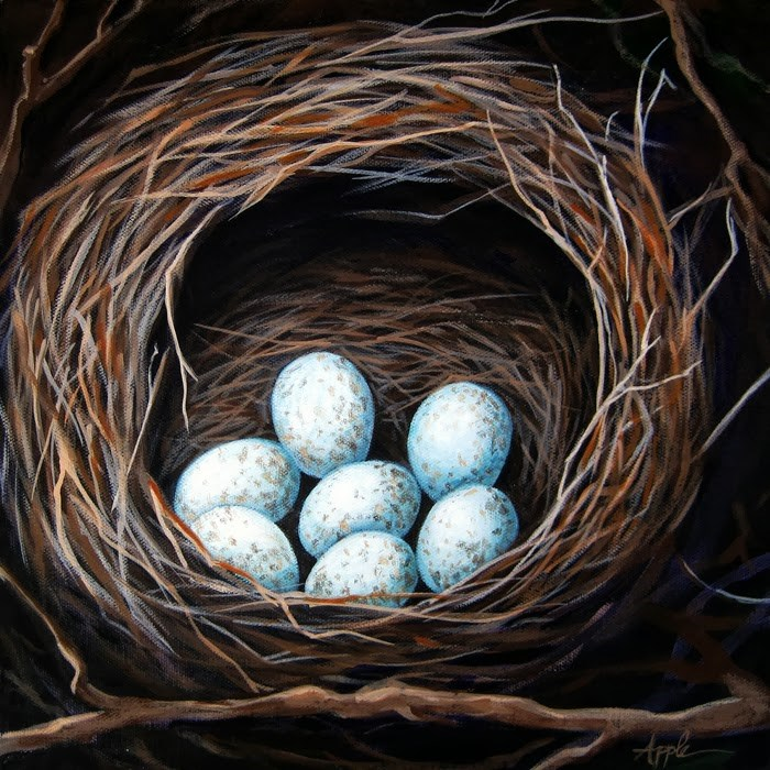 """Bird Nest with eggs realistic still life"" original fine art by Linda Apple"