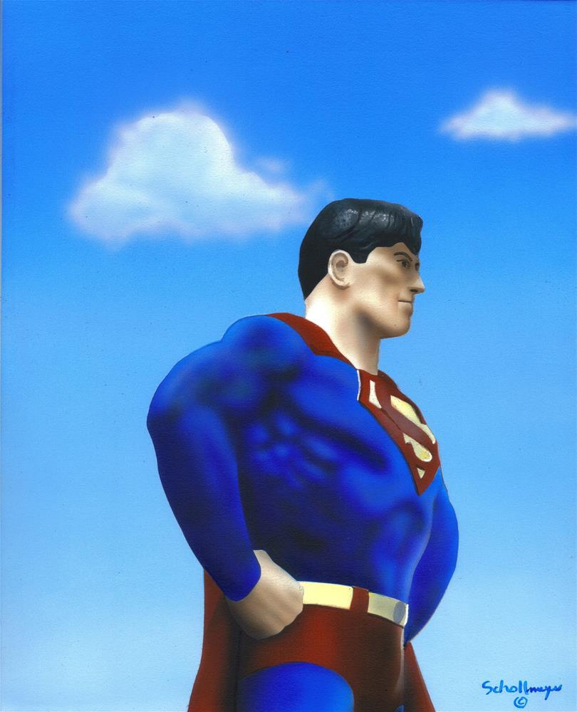 """Superman the Statue"" original fine art by Fred Schollmeyer"