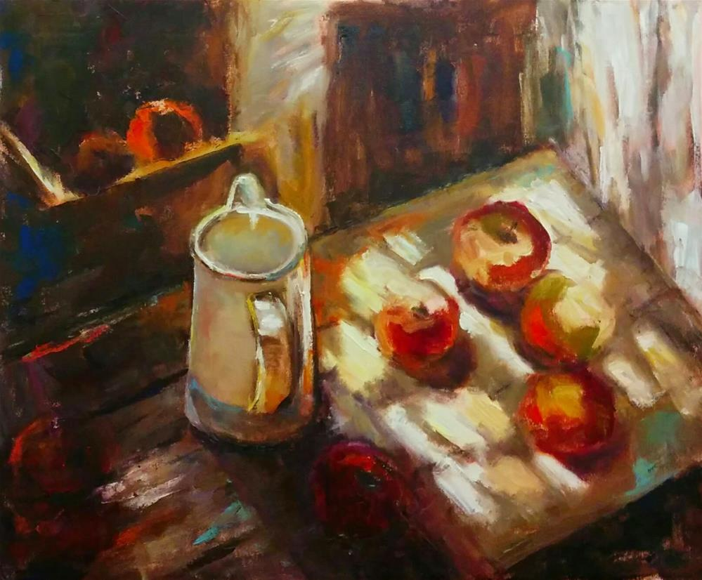 """""""Red Apples in Shadow"""" original fine art by pepa sand"""