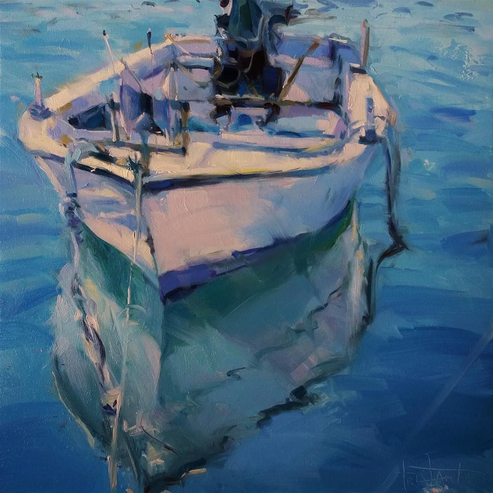 """Fishing boat"" original fine art by Víctor Tristante"