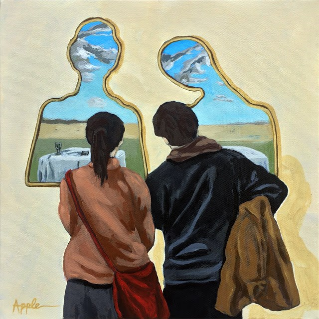 """DALI art viewed by couple in art museum original painting"" original fine art by Linda Apple"