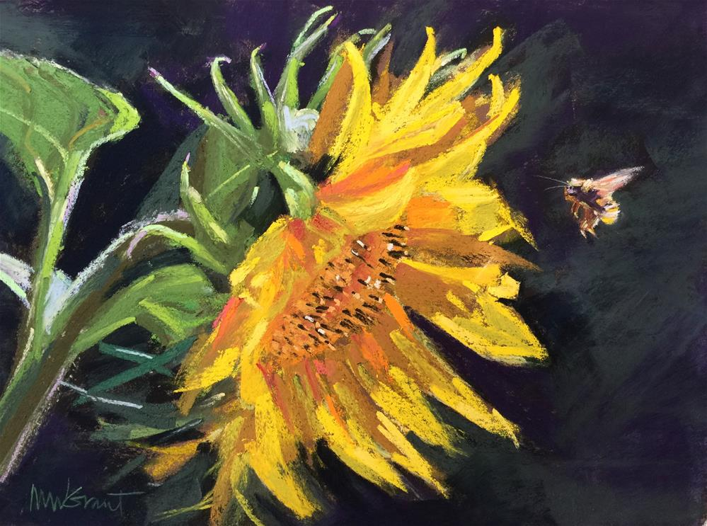"""""""Sunflower and Bumblebee"""" original fine art by Michelle Wells Grant"""