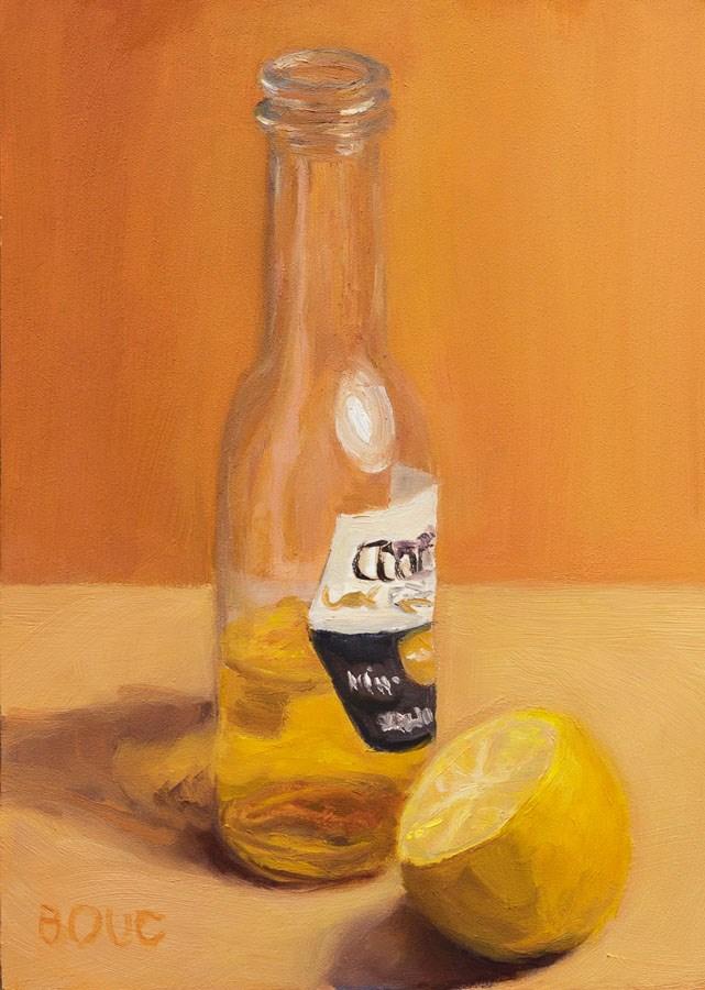 """After the Party Cerveza and Lemon"" original fine art by Jana Bouc"
