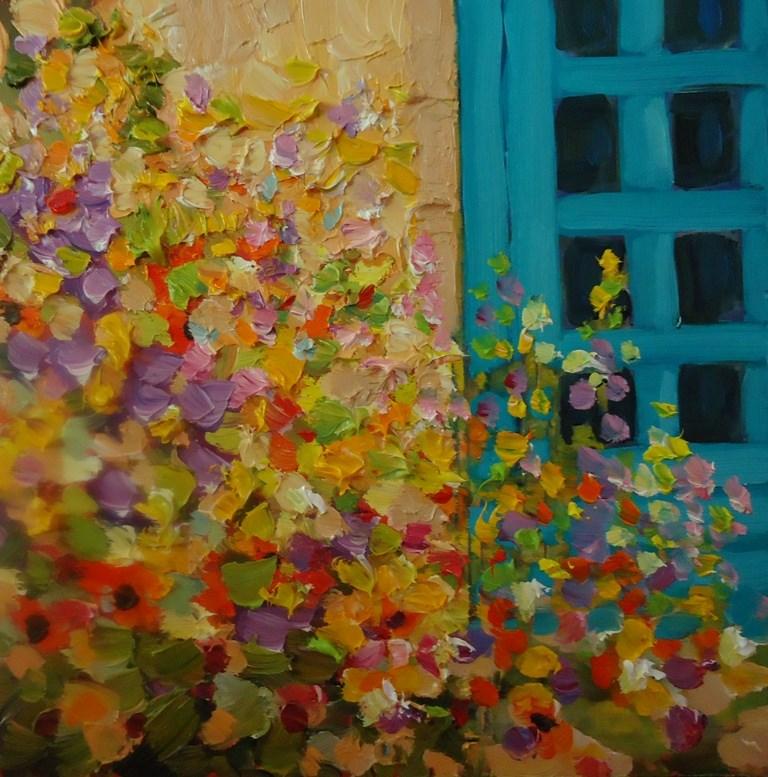 """109 NEWMEXICO COTTAGE GARDEN"" original fine art by Dee Sanchez"