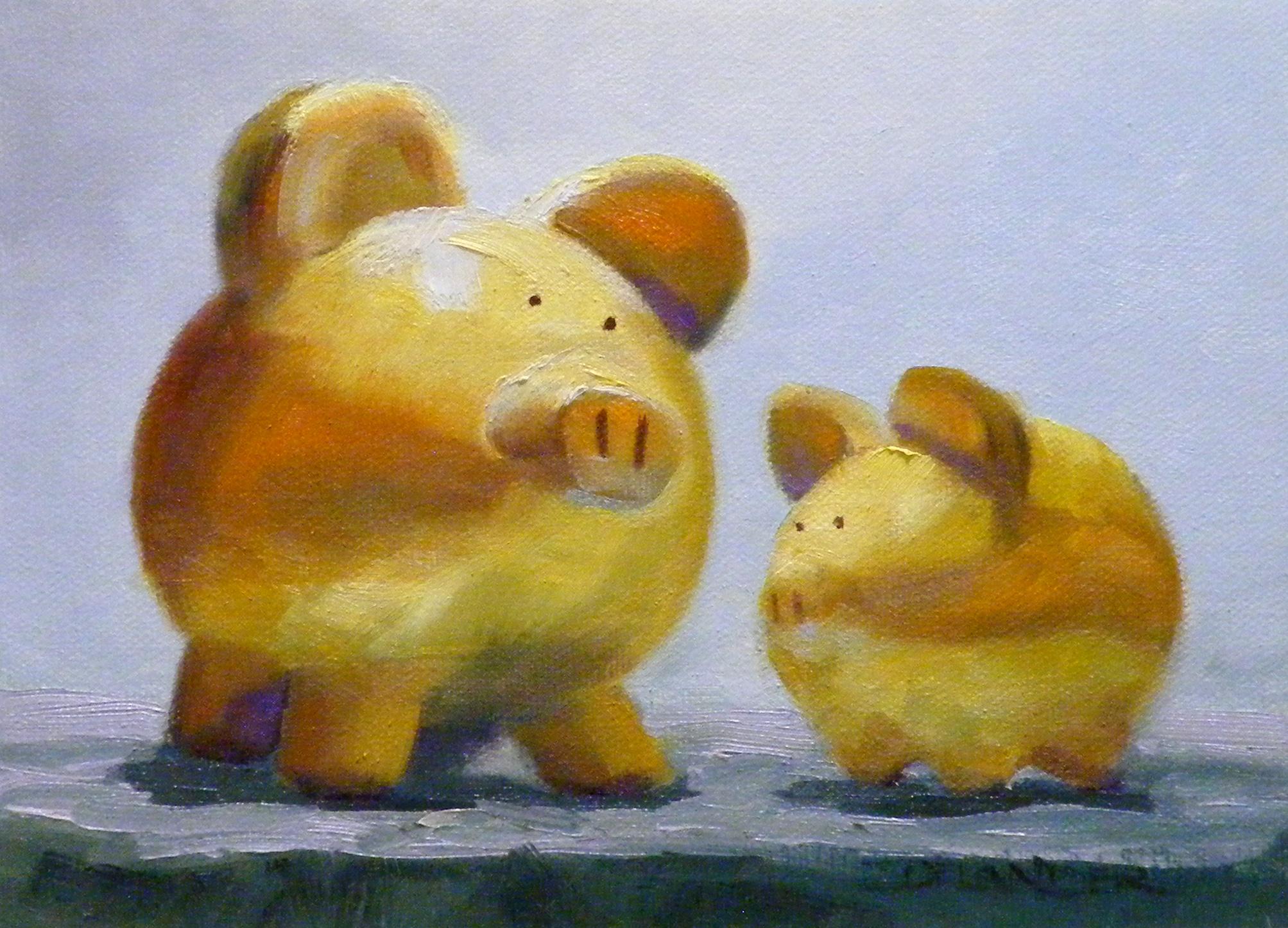 """Piggies"" original fine art by Diana Delander"