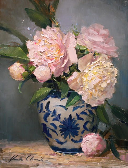 """""""Peonies in Blue and White"""" original fine art by Justin Clements"""