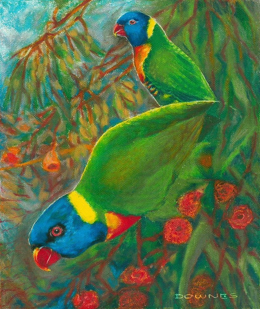 """332 RAINBOW LORIKEETS"" original fine art by Trevor Downes"