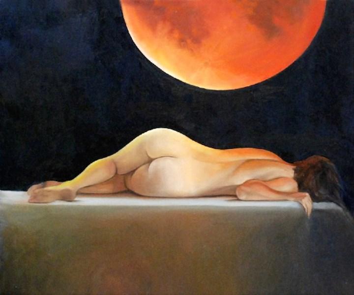 """Blood Moon II"" original fine art by Patti Adams"