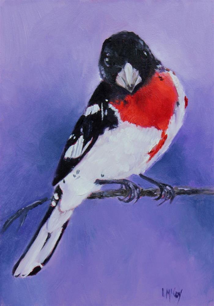 """Rose Breasted Grosbeak ll"" original fine art by Linda McCoy"