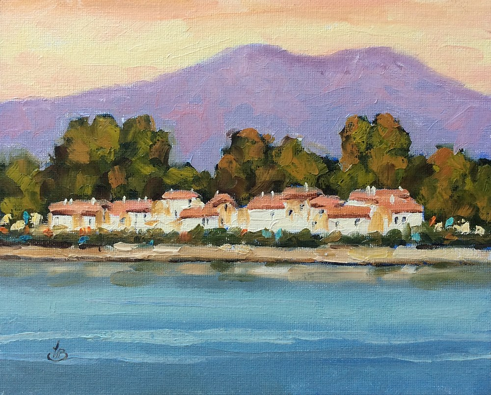 """SUNSET AT SOUTH LAKE IN WOODBRIDGE"" original fine art by Tom Brown"