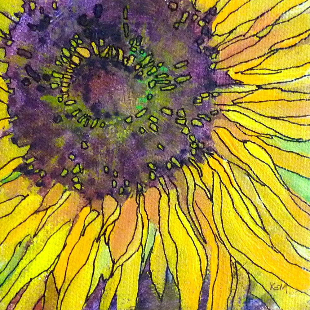 """""""Summer Reflections and A New Acrylic and Ink Sunflower"""" original fine art by Karen Margulis"""