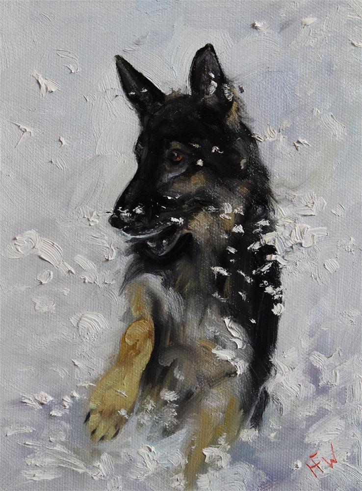 """""""Shepherd in the Snow"""" original fine art by H.F. Wallen"""