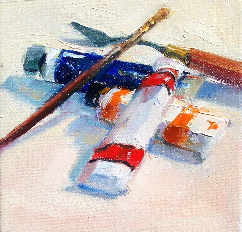 """Paint Tube Pile,still life,oil on canvas,6x6,price$200"" original fine art by Joy Olney"