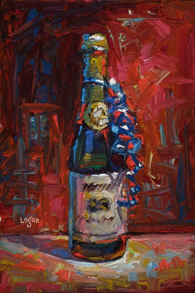 """Martinelli's Sparkling Cider with Blue Ribbon"" original fine art by Raymond Logan"