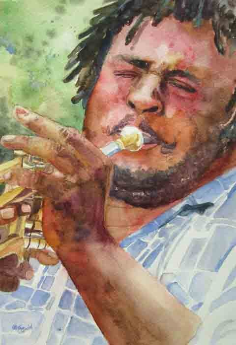 """Trumpet Man"" original fine art by Kay Smith"